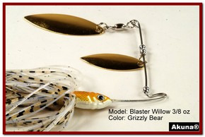 Akuna Blaster Willow 3/8 oz Spinnerbait Lure Gold Colorado Blade Grizzly Bear Skirt skirt