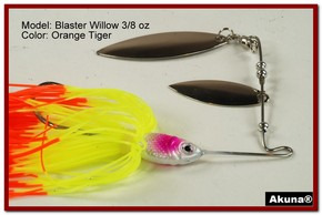 Akuna Blaster Willow 3/8 oz Spinnerbait Lure Silver Colorado Blade Orange Tiger Skirt skirt