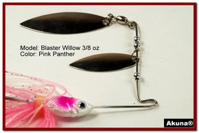 Akuna Blaster Willow 3/8 oz Spinnerbait Lure Silver Colorado Blade Pink Panther Skirt skirt