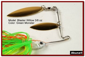 Akuna Blaster Willow 3/8 oz Spinnerbait Lure Gold Colorado Blade Green Monster Skirt skirt