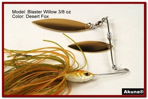 Akuna Blaster Willow 3/8 oz Spinnerbait Lure Gold Colorado Blade Desert Fox Skirt skirt