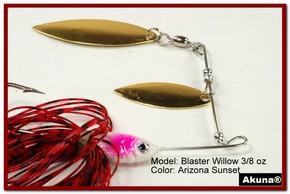 Akuna Blaster Willow 3/8 oz Spinnerbait Lure Gold Colorado Blade AZ Sunset Skirt skirt