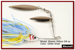 Akuna Blaster Willow 3/8 oz Spinnerbait Lure Silver Colorado Blade Glitter Shad Skirt skirt