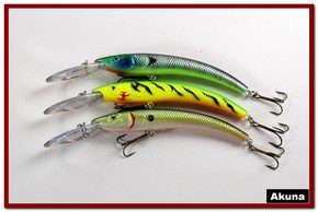 "Akuna Pack of 3 Hypnotizer 5.9"" Diving Fishing Lure - Clearance"