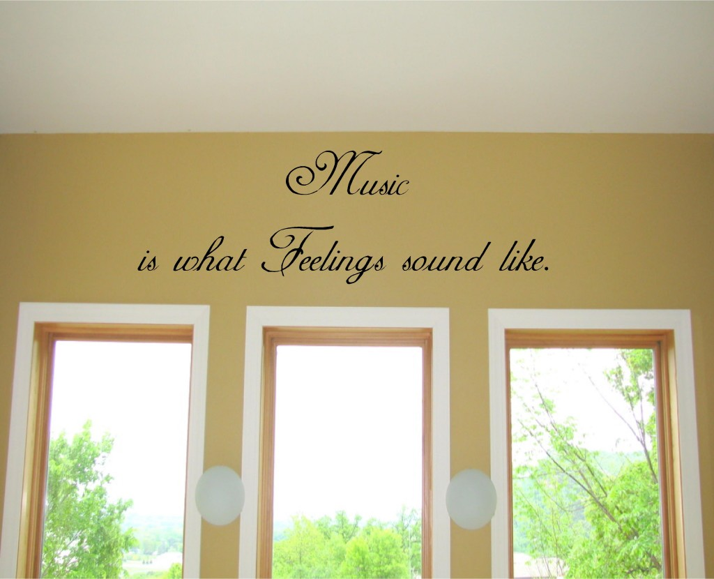 Music is what feelings sound like vinyl wall art words decals stickers