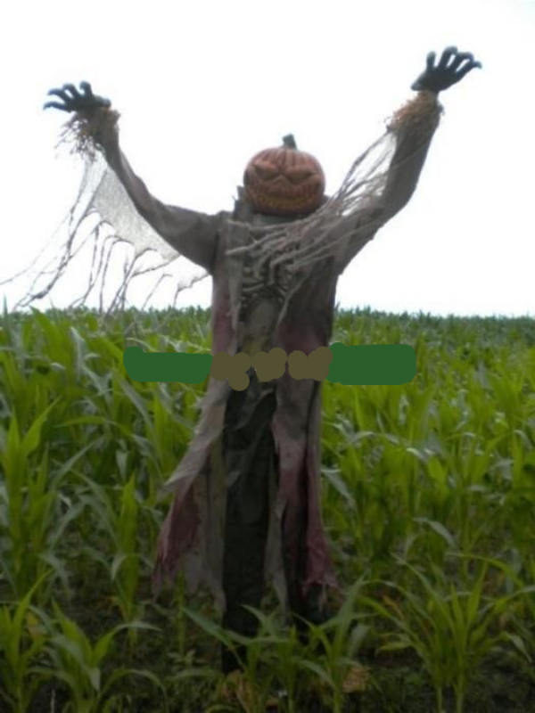 Giant animated demonic pumpkin head scarecrow halloween for Animated scarecrow decoration