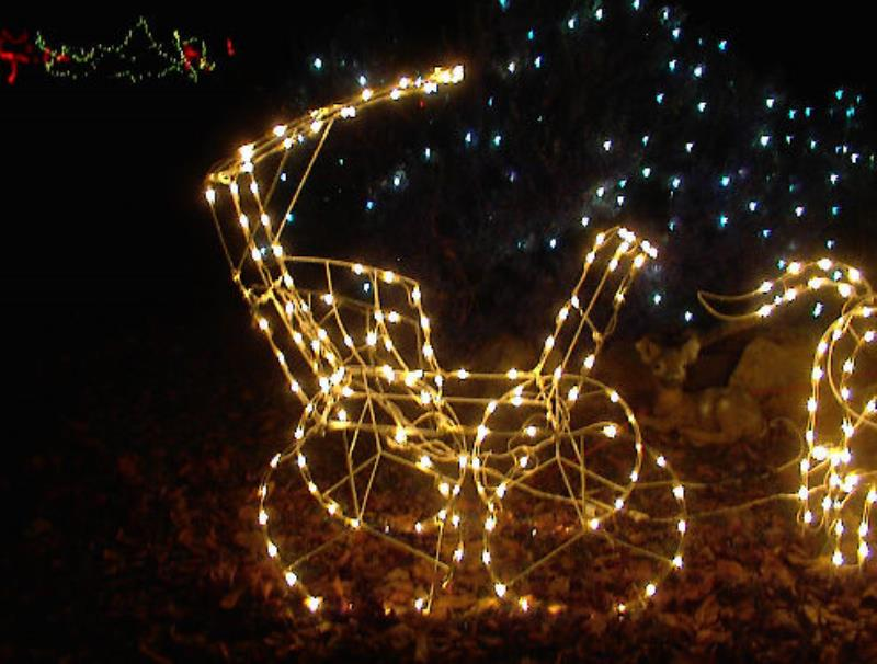 Christmas Lighted Horse Carriage Outdoor Decoration : Large lighted christmas horse carriage yard sculpture
