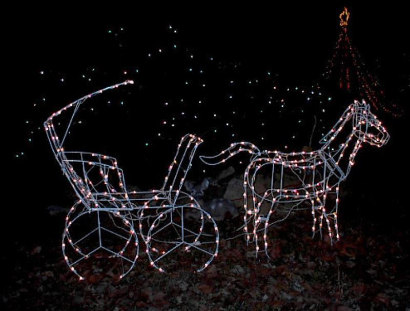 Large lighted christmas horse carriage yard sculpture ebay for 57in led lighted peacock outdoor christmas decoration