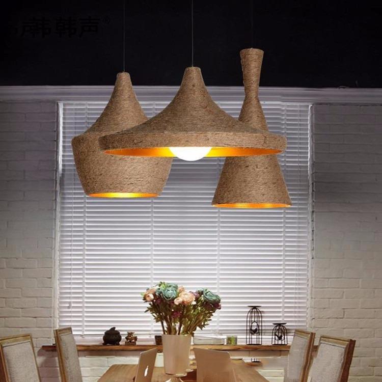 nuova industriale corda di canapa lampadario camera da letto ... - Lampade Sospensione Camera Da Letto