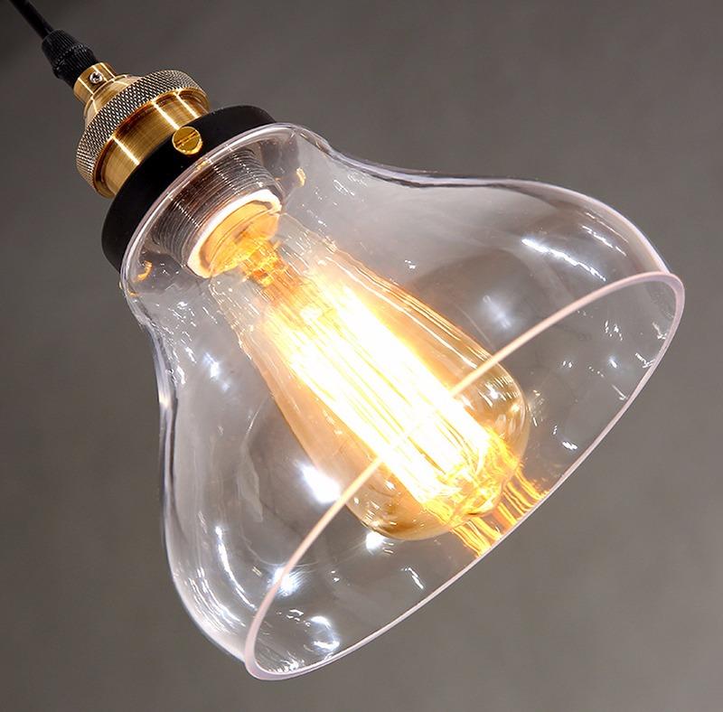 Nuova industriale vetro lampadario camera da letto sospensione ...