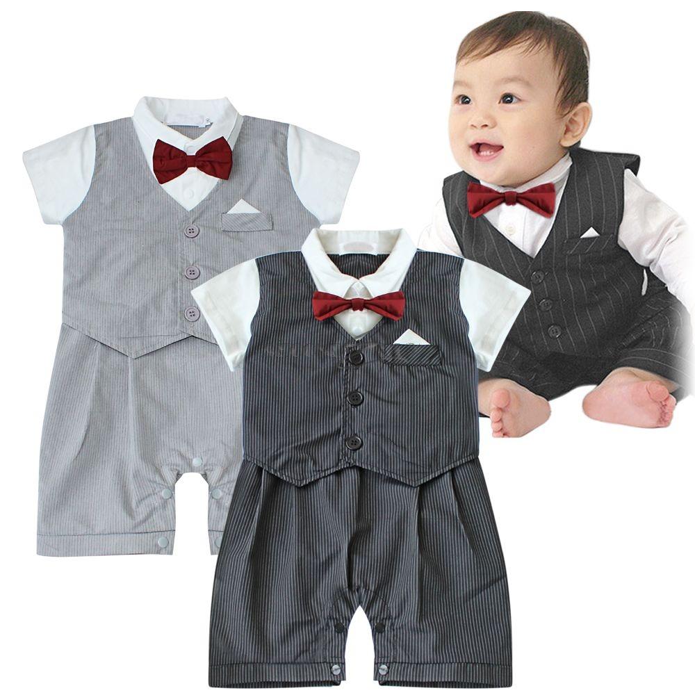 jungen baby kinder smoking overall strampler anzug weste mit fliege taufe 6 24m ebay. Black Bedroom Furniture Sets. Home Design Ideas