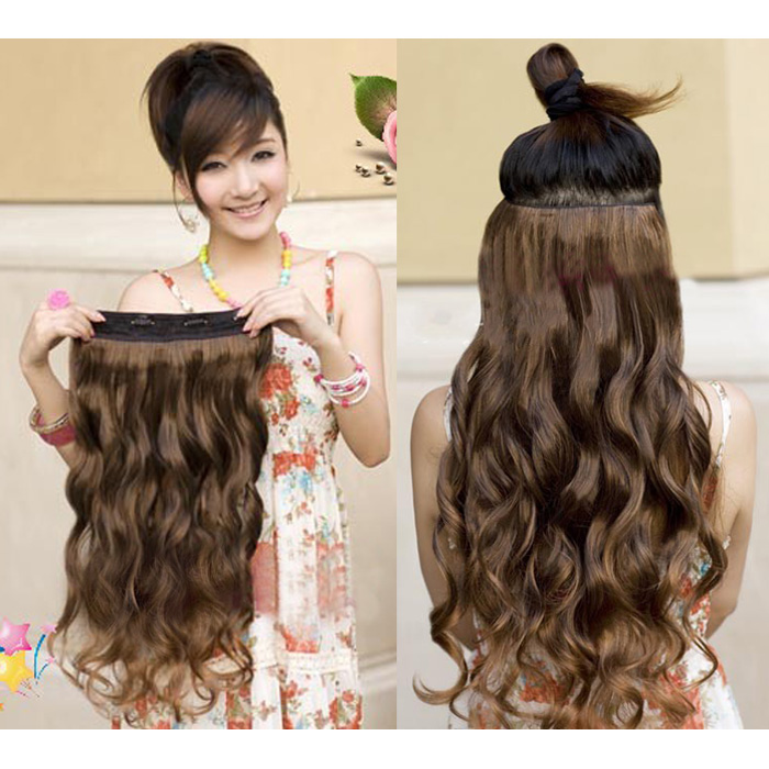 One piece beautiful long 50 60cm wavy hair extension clip on 5 image is loading one piece beautiful long 50 60cm wavy hair pmusecretfo Images