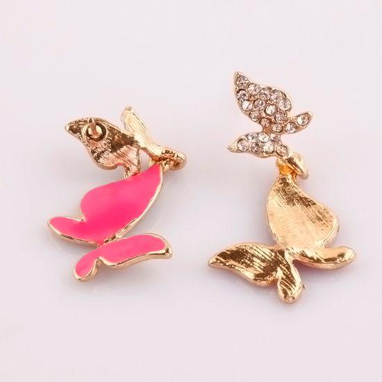 Hot Pink Enamel Butterfly Crystal Dangle Gold Plated Charm Earrings