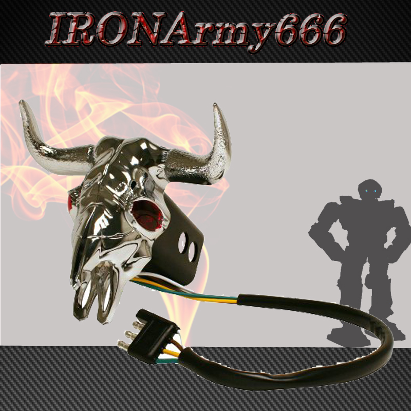 Quot bull skull head trailer hitch receiver cover led