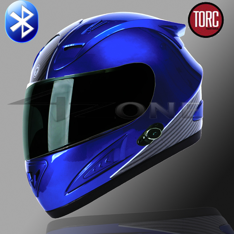Carbon Fiber Motorcycle Helmet >> TORC FULL FACE MOTORCYCLE BLUETOOTH HELMET BLUE CARBON FIBER S M L XL | eBay