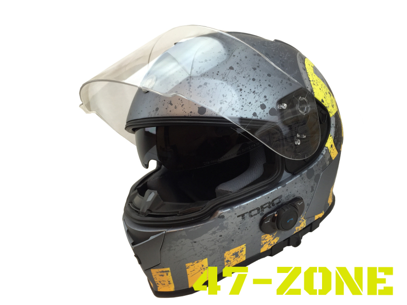 T14B Bluetooth Motorcycle helmet Full face Dual Visor Silver radiation Nuclear