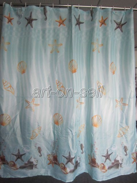 Blue star trumpet shell design bathroom fabric beautiful for Star material for curtains
