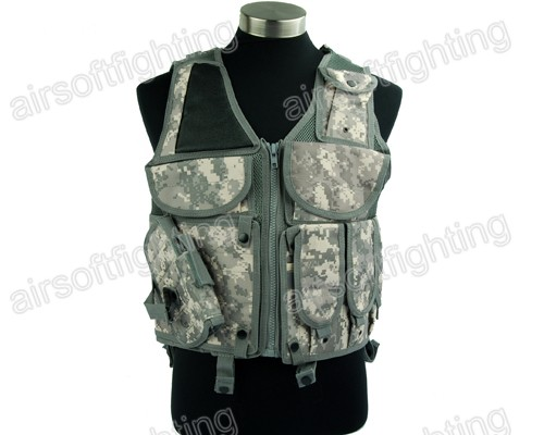 Airsoft-Paintball-Tactical-Combat-Hunting-Vest-Lightweight-Holster-Pouch-ACU