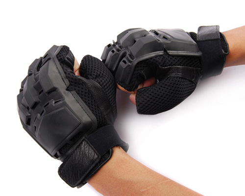 Military-Outdoor-Tactical-Half-finger-Assault-Glove-Paintball-Game-Black-Large