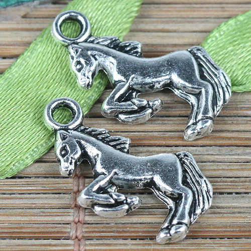 30pcs Tibetan silver color little running horse charms EF0339
