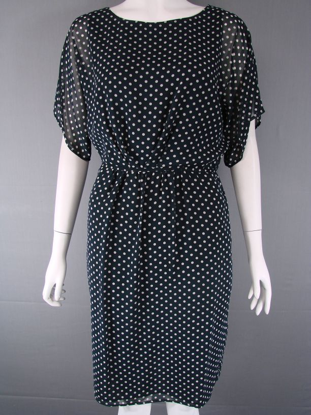 PIED-A-TERRE-SHORT-SLEEVED-NAVY-BLUE-POLKA-DOT-DRESS-SIZES-10-12-14-RRP-135