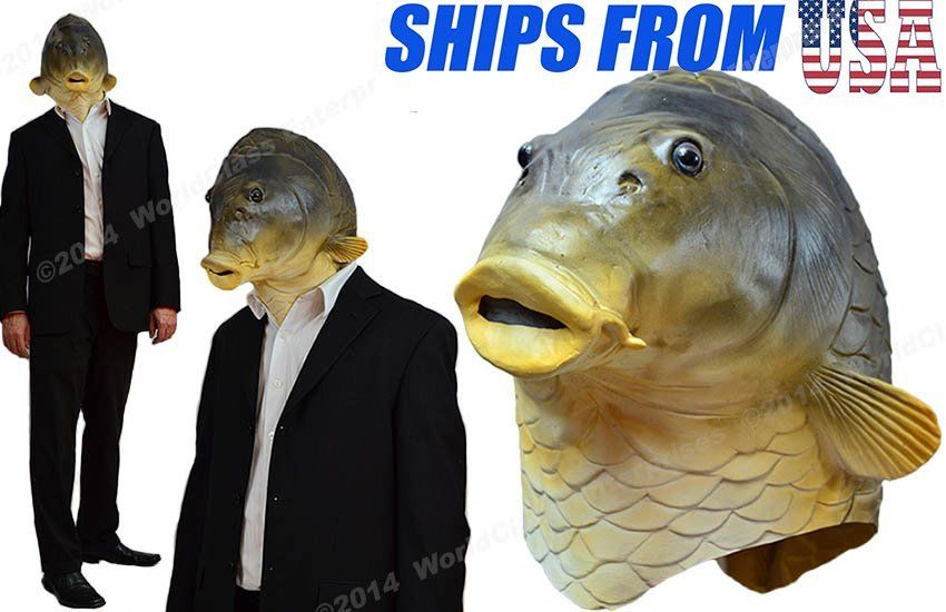 fish head halloween costume mask creepy horse animal prop