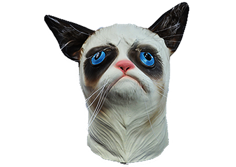 ZooBoo Grumpy Cat Full Head Mask Latex Creepy Halloween Costume Horse US SELLER