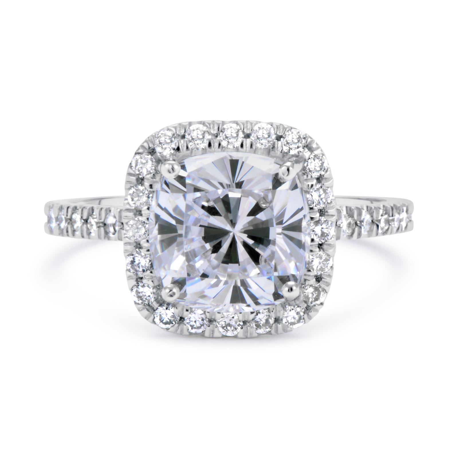 2 75 Ct Cushion Cut vs Diamond Solitaire Engagement Ring 14k White Gold