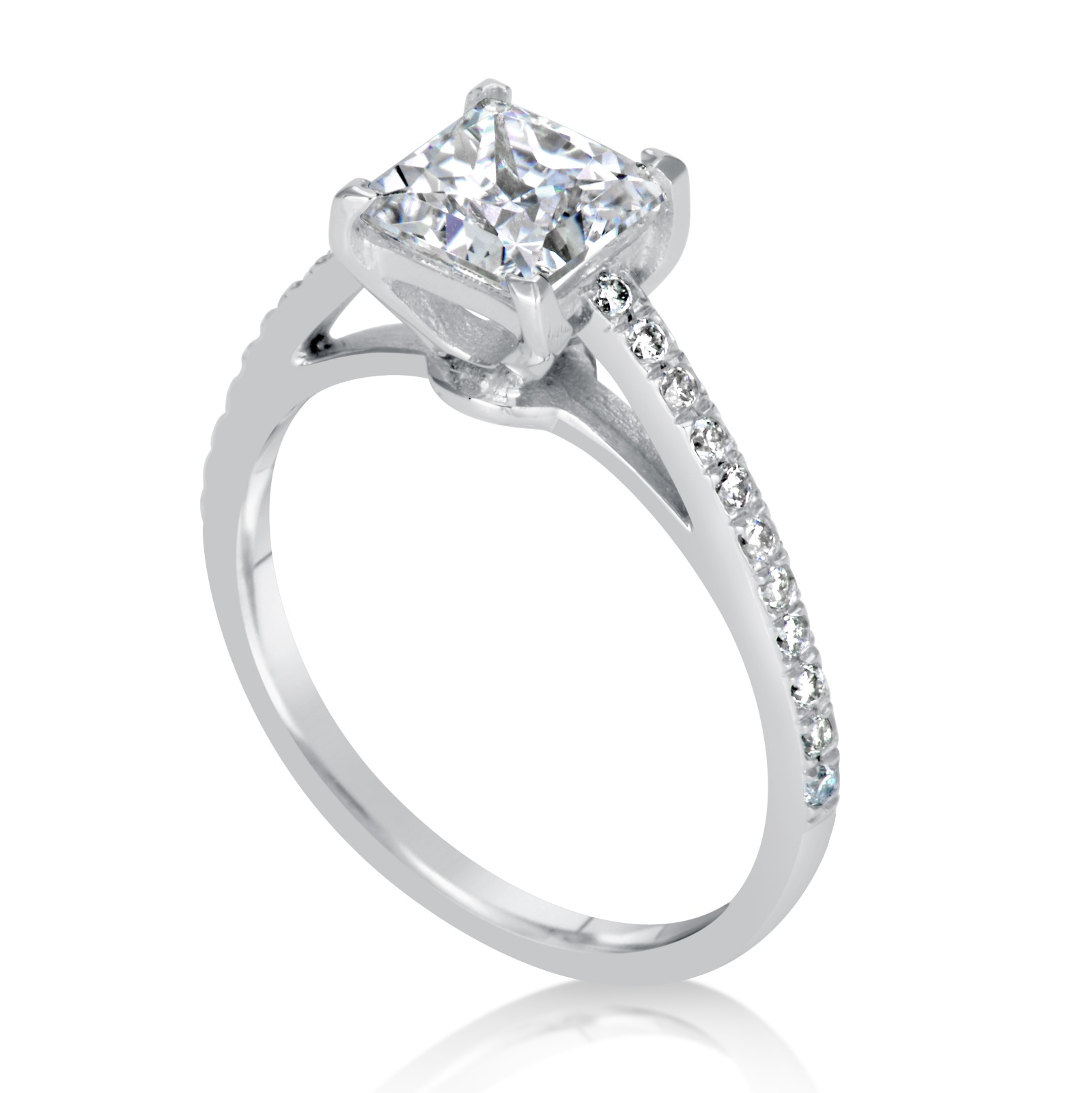 CT PRINCESS CUT DSI1 DIAMOND SOLITAIRE ENGAGEMENT RING 14K WHITE ...