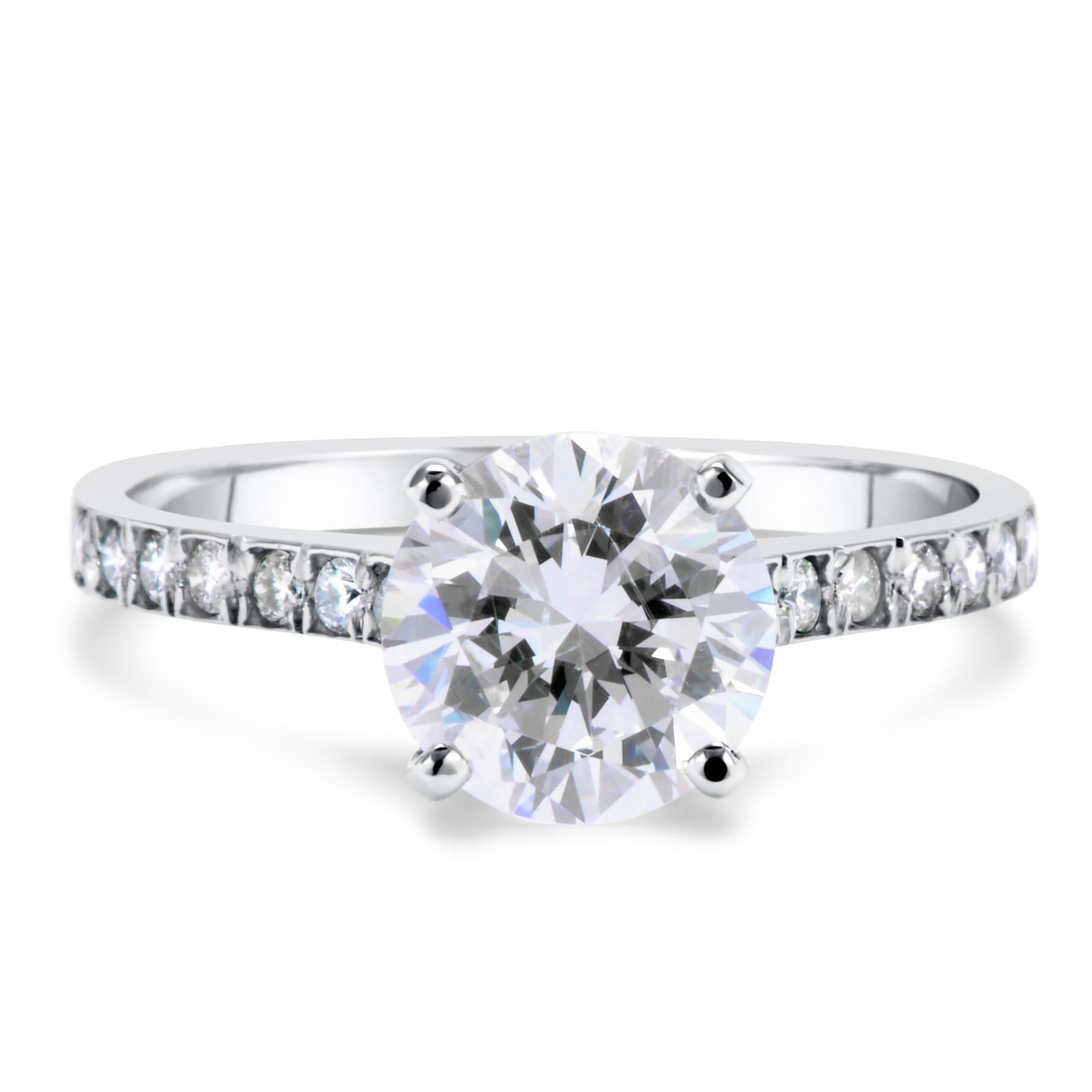 Vvs1 Engagement Ring 2 Carat Round Cut 14k White Gold Bridal Jewelry