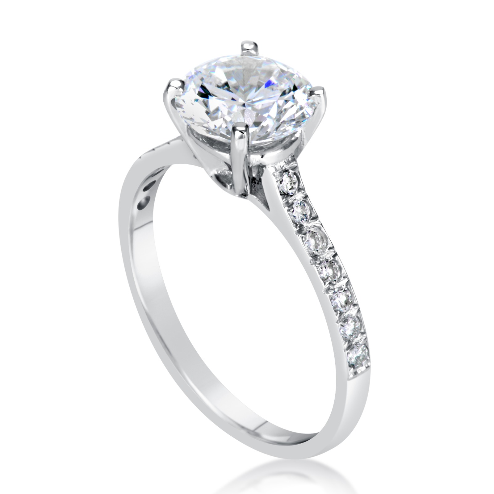 Engagement Ring 2 Carat Round Cut 14k White Gold Bridal Jewelry Click  To Enlarge