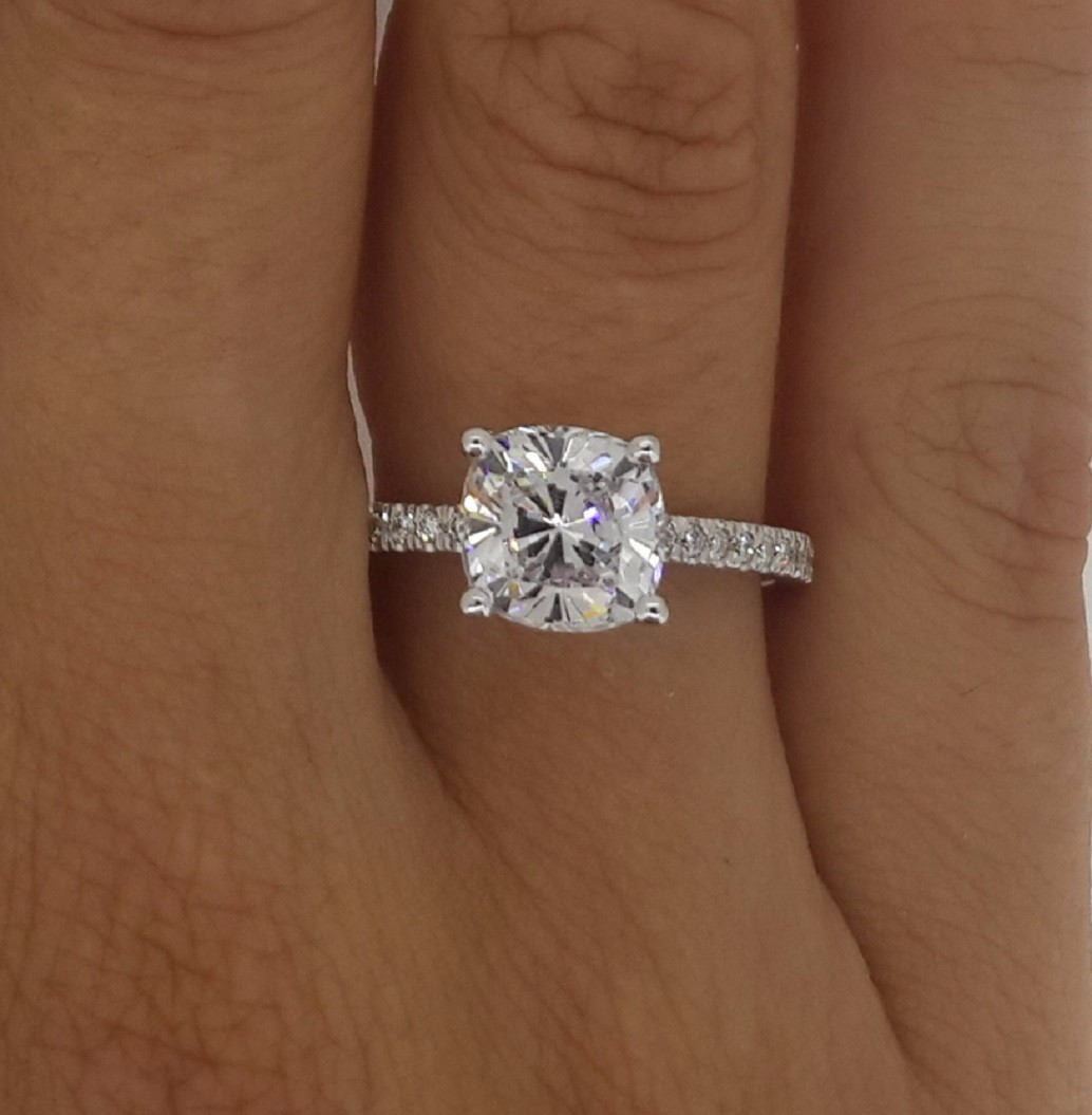 3 00 CT CUSHION CUT D SI1 DIAMOND SOLITAIRE ENGAGEMENT RING 14K WHITE GOLD