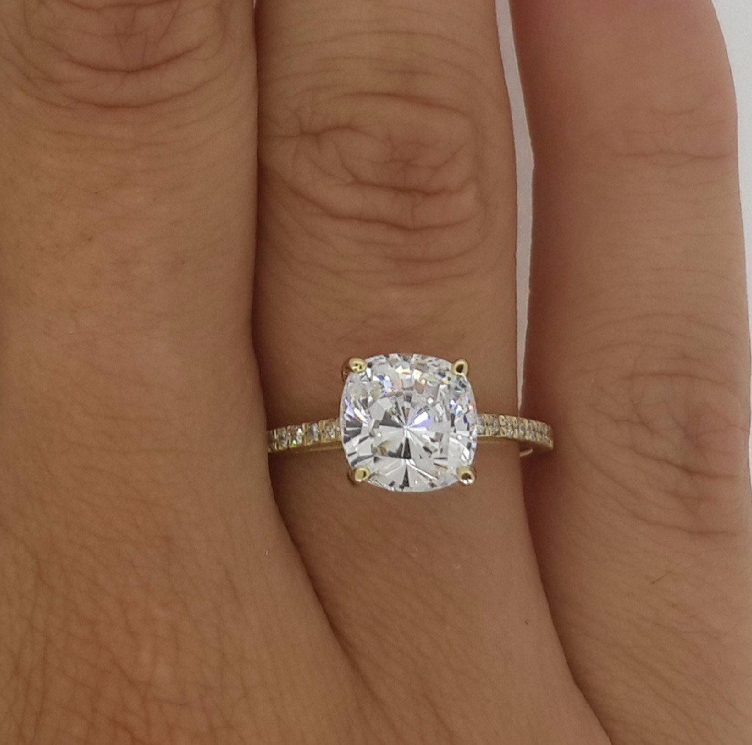 2 50 CT CUSHION CUT VS DIAMOND SOLITAIRE ENGAGEMENT RING 14K GOLD