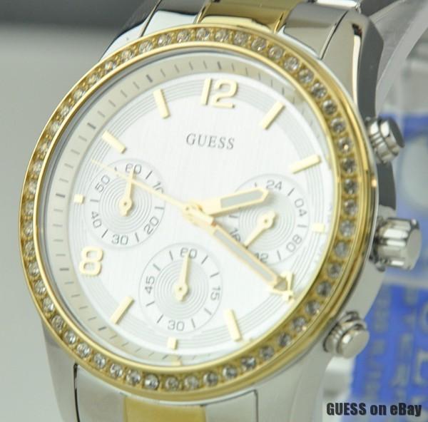 neu schick uhr uhren guess armbanduhr damen silver gold. Black Bedroom Furniture Sets. Home Design Ideas