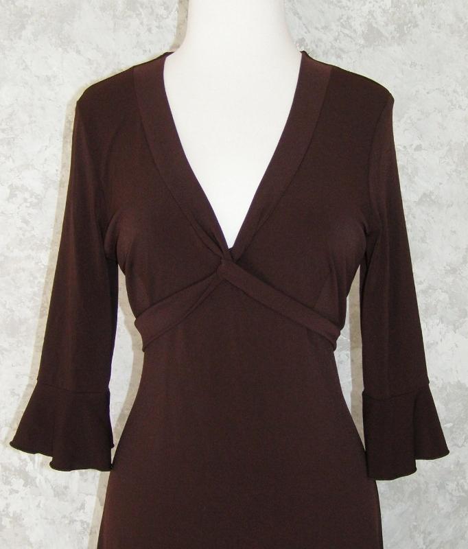 BCBG Max Azria Dark Brown Stretch Jersey Dress L Empire Twist Front 3