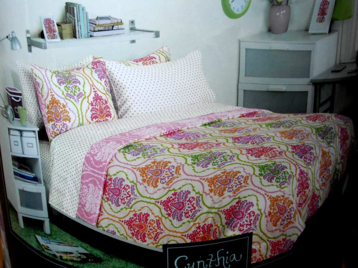 Twin cynthia rowley damask comforter sheets pink orange for Cynthia rowley bedding