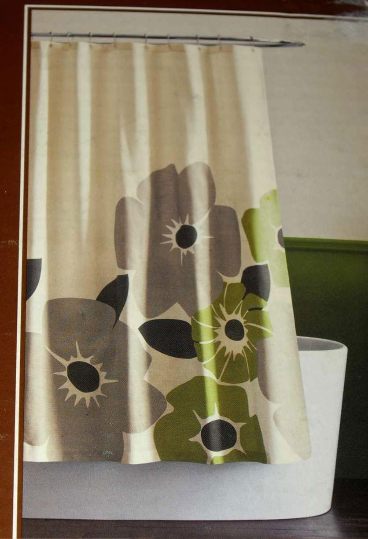 New Dwell Studio Target Pansy Shower Curtain Green Gray Modern Cotton