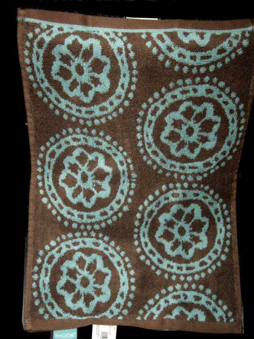 Home Global Medallion Boho Fabric Shower Curtain Towel Teal Blue Chocolate Brown