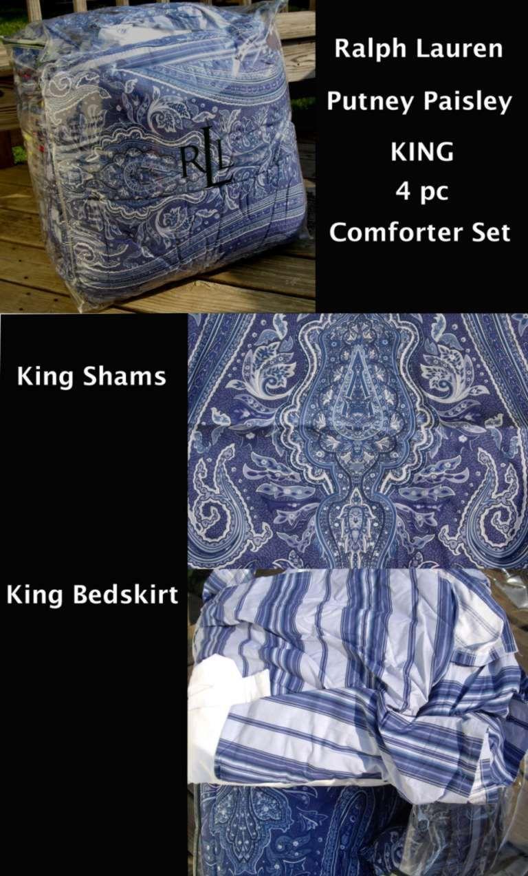 ralph lauren-blue putney paisley-king comforter 4pc set | ebay