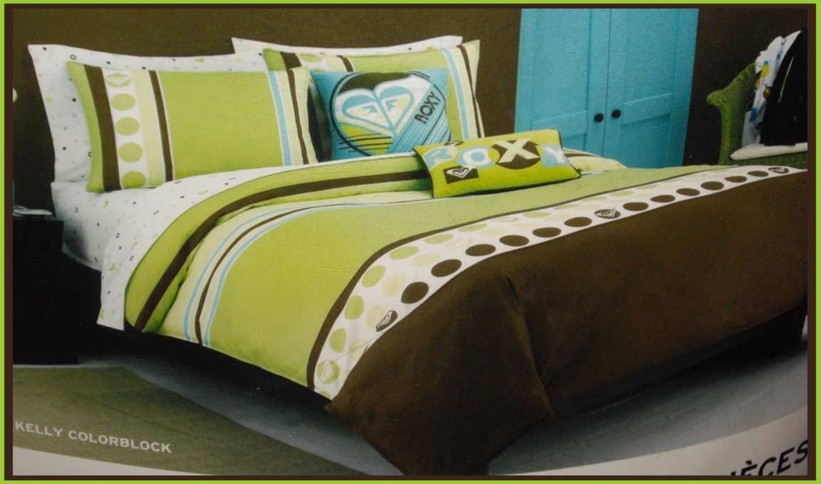 Girl kelly colorblock queen comforter sheet 9p set green brown dot new