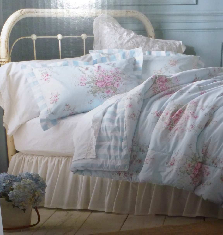 ... Simply SHABBY CHIC-KING Comforter Cottage Rose-Blue-Stri pe Set 3P