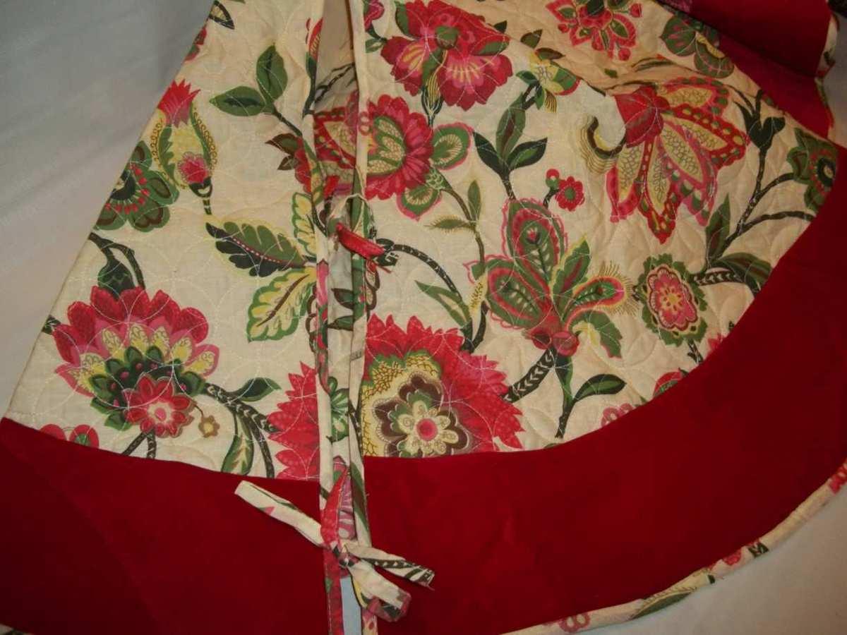 New 54 christmas tree skirt white pine sabrina red velvet for Where can i buy a red christmas tree