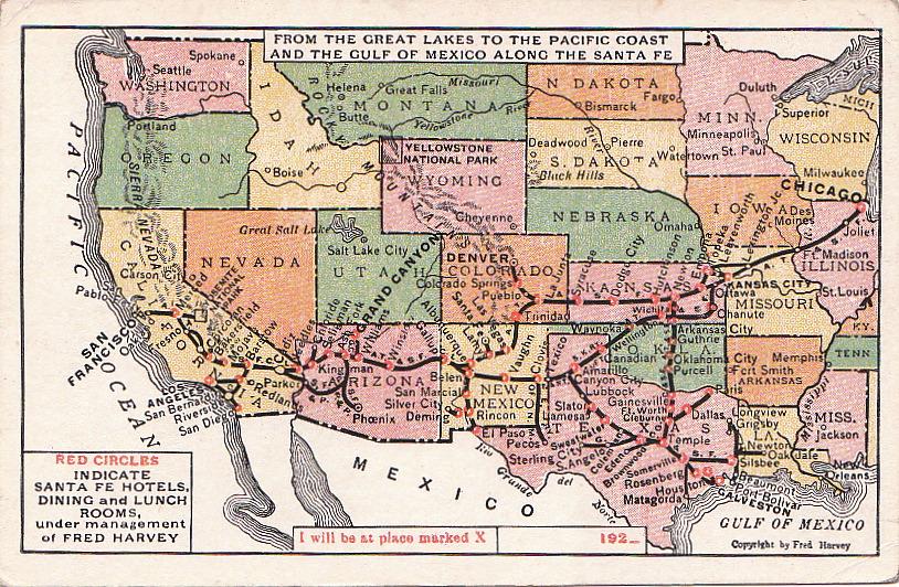 Postcard Fred Harvey Santa Fe Railroad Map  EBay