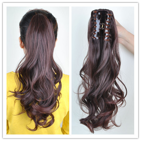 Clip in ponytail pony tail hair extensions piece wavy style wrap how to care for synthetic hair extensions pmusecretfo Gallery