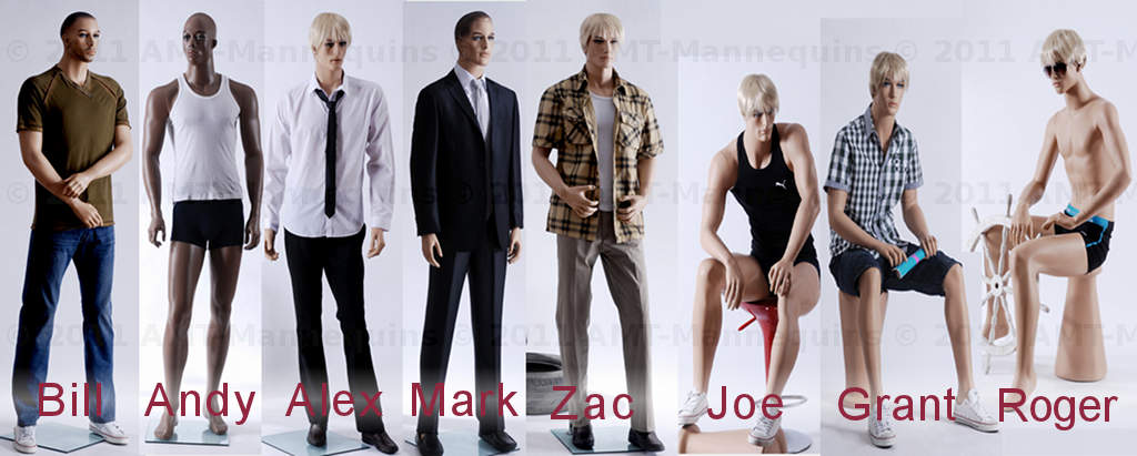 AMT Mannequins - Group Photo Male Mannequins 2 of 2 adult male mannequins manikens standing mannequins kneeling mannequins sitting mannequins