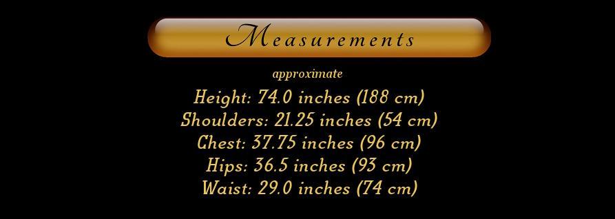 Mannequin maniken mankin manequin Jim dimensions measurements sizes