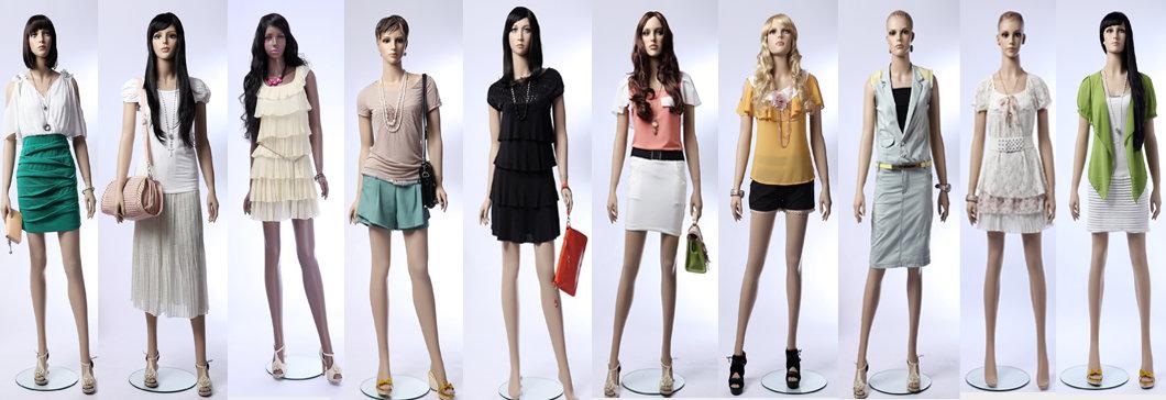 Female mannequin displays ladies leather jackets,head turn,manikin ...