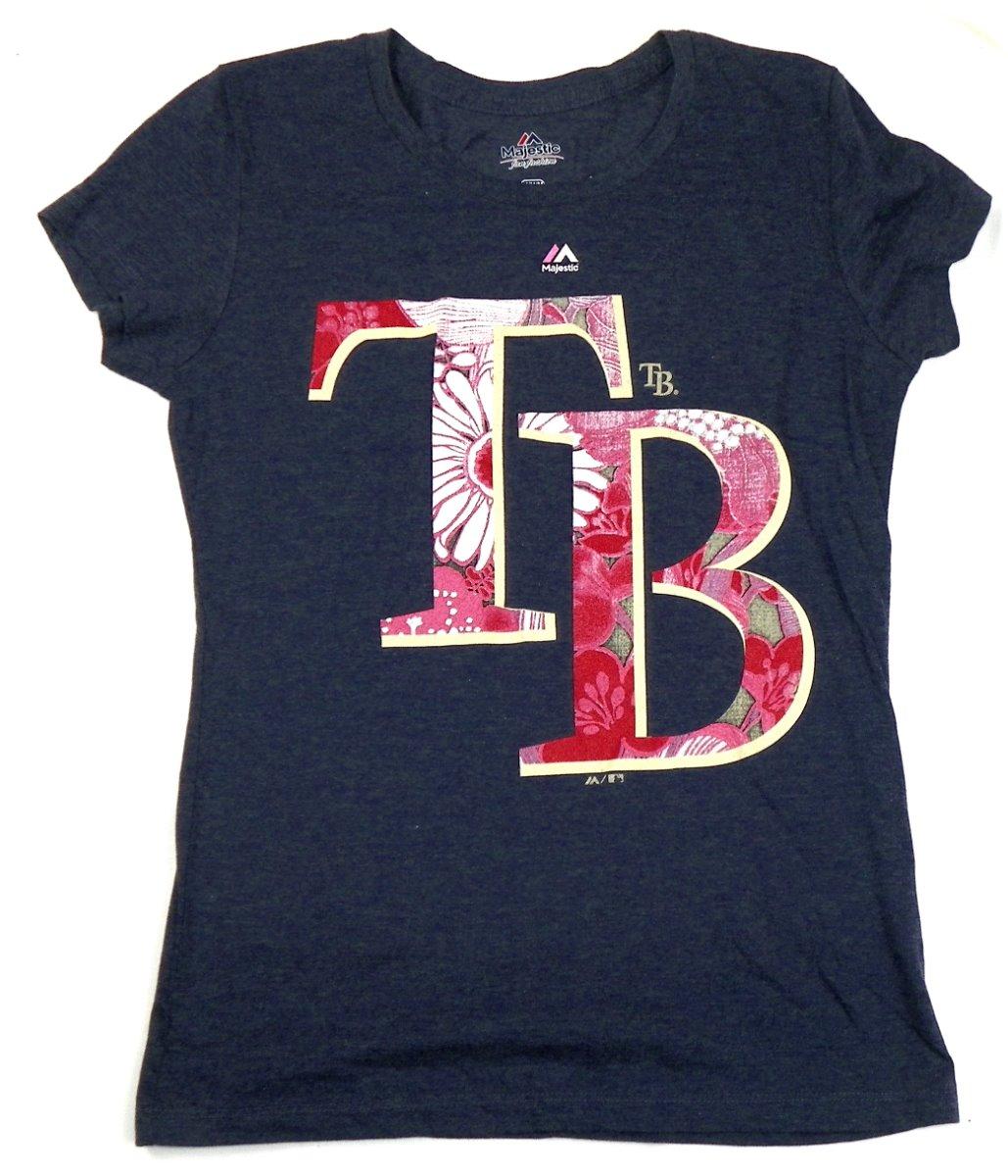 Shirt design tampa - Ladies Medium Tampa Bay Rays Shirt Majestic Fan Fashion Tee Floral Design