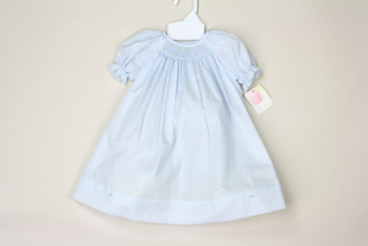 NEW Petit Ami Smocked Bishop Dress Blue Yellow White NWT