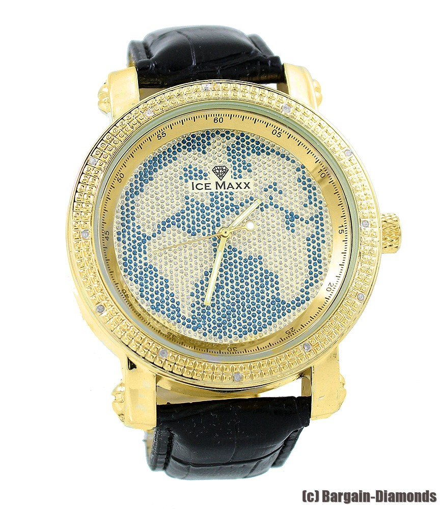 MLTBJ Word Map  Mens Dress Watch Gold Tone Diamond Accent 50mm Case Leather Strap at Sears.com